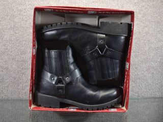 New Faded Glory Mens Harness Boots   Black Biker look   like New with Original Box   Size 11
