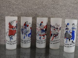 Set of 5 Vintage Federal Glass Frosted Square Dance Tumblers   Square Dance Songs on Glasses   6 5 8  Tall
