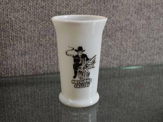 Vintage Hopalong Cassidy Milk Glass 1950 s   Hoppy logo on Bottom of Glass   4 7 8  Tall