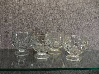 Set of 4 Glass Tiki Cups   Very Heavy   4 1 2  Tall