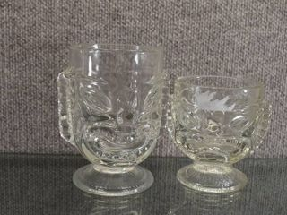 lot of 3 Glass Tiki Cups   Very Heavy   4 1 2  6  Tall