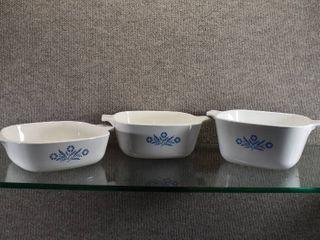 Set of 3 Corning Ware Cornflower Casserole Dishes No lids   1 3 4 Qt  1 Qt  1 1 2 Qt