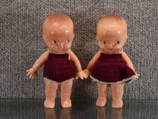 Vintage Pair of Celluloid Erwin Plastic Dolls w Clothes   Made in USA   6  Tall
