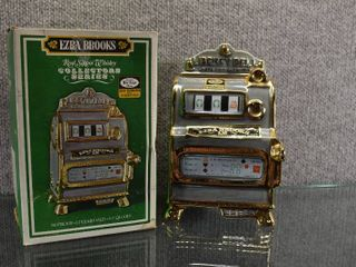 Vintage Ezra Brooks 1971 Slot Machine Decanter Hand Decorated 24K Gold   Heritage China SN 14   8  Tall