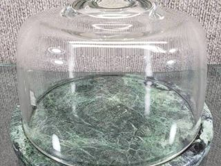 Vintage Granite Cheese Plate with Dome Glass lid   7  Round