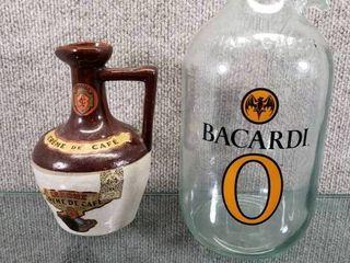lot of 2 liquor Jugs Bacardi O  Creme De Cafe   No lids   7   amp  11  Tall