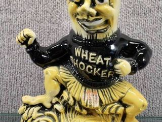 Vintage Ezra Brooks Wheatshocker Wichita State Whiskey Decanter 1971   Heritage China RH 14   10  Tall