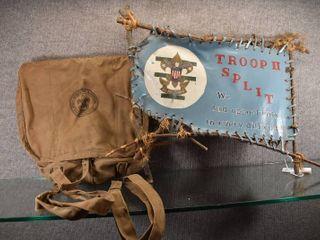 Vintage Boy Scout Handmade Sign   Backpack