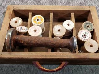 Vintage Wood Drawer w  Wood Spools  Clothes Pins   large and Small Spools