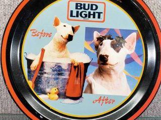Vintage Spuds MacKenzie Bud light Beer Metal Tray 1996   12  Round