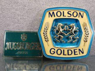 lot of 2 Vintage Molson Golden Beer   Augsburger Beer Signs   12  x 13