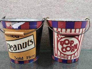 lot of 2 Metal Fresh Popcorn Buckets w Handles   6 1 2  Tall