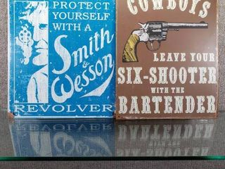 lot of 2 Smith   Wesson Cowboy Six Shooter Metal Signs   Great for Man Cave   12  x 16  12  x 15