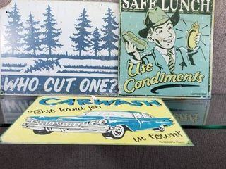 lot of 3 Funny Metal Adult Metal Signs   Car Wash  Who Cut One  Practice Safe lunch