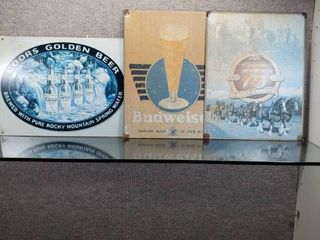 lot of 3 Coors and Bud Metal Signs   16  x 12 1 2