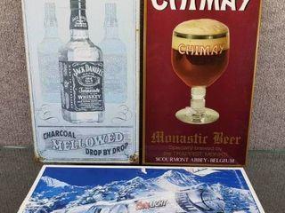lot of 3 Chimay Beer  Coors light  Jack Daniels Metal Sign   8 1 2  x 9