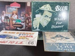 lot of 4 Funny Metal Metal Signs   Poker dogs  Keep Out  Route 66  What s for Dinner   13  x 16