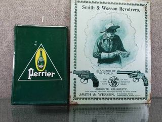 lot of 2 Smith   Wesson   Perrier Metal Signs   Various sizes