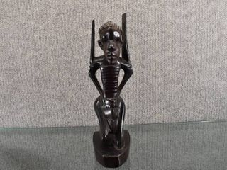 Vintage Hand Carved Tribal African Warrior   Wood   9  Tall