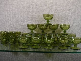 lot of 24 Whitehall Avocado Green Colony Glasses   19 Champagne Tall Sherbet Glasses   5 Juice Glasses   Sherbet Glasses   3 5  Tall