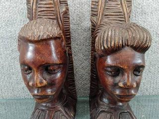 Vintage Hand Carved Man and Woman Bookends    10 Simfro   Wood   9 1 2  Tall