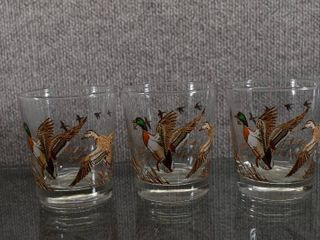 lot of 3 VTG MCM libby Flying Geese Whisky Old Fashioned Glass   4  Tall