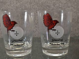 lot of 2 Vintage Hole In One Glass Spalding Golf Red Birdie Tumbler Drinking Glass   4 5  Tall