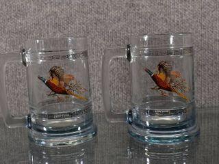 lot of 2 Pheasant Bird Game Heavy Glass Beer Stein Tankard Mug   5 25  Tall