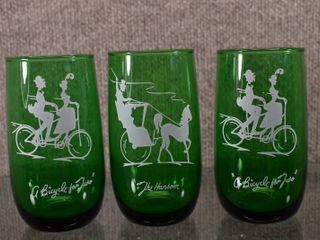 lot of 3 Anchor Hocking FOREST GREEN  The Hansom     A Bicycle for Two  Gay Nineties ROlY POlY Tumbler   Glass   5  Tall