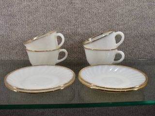 lot of 4 Vintage Fire King Cup   Saucer Gold Trim Milk Glass   Made in USA   Cups   2 5  Tall   Saucers   5 75  Wide