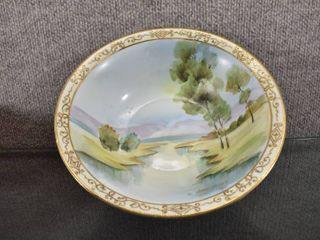 Vintage Nippon Bowl with River Scene   Makers Mark   Green Crown Mark  10   9  D x 2 5  T