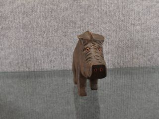 Vintage Hand Carved Wild Boar   Wood   4  Tall