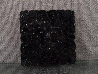 Vintage Frankoma  3TR Black Glaze Trivet   Fleur De lis Pattern   6  x 6