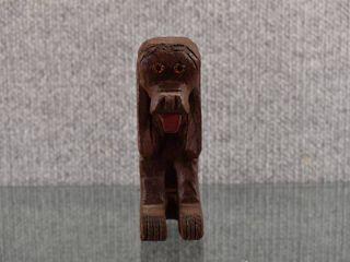 Vintage Hand Carved Dog and Elephant   Wood   Dog   4 1 2  Tall   Elephant 3  Tall