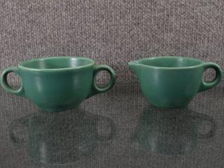 Set of 2 Frankoma Cream and Sugar   Green   2