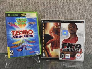 lot of 3 Video Games   Spiderman 2  PSP  FIFA Soccer  PSP  Tecmo Classic Arcade  Original XBOX