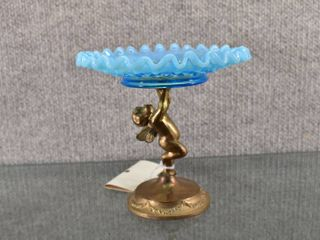 Vintage Brass Angel Holding Blue Hobnail Dish   Glass and Brass   5  Tall