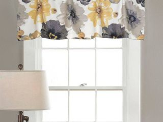 leah Window Curtain Valance Yellow Grey