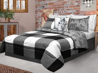 Comforter 3 Piece Set King Printed Nature Plaid White Black