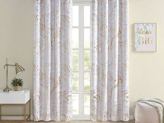 Intelligent Design Natalia Blush  Gold Grommet Top Printed Marble Metallic Total Blackout Curtain