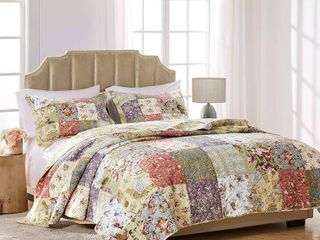 Greenland Home Fashions Blooming Prairie Quilt Set   Full Queen