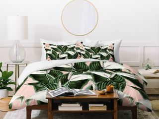 Deny Designs Pink and White Floral Duvet Cover Set  3 Piece Set  Retail 159 99