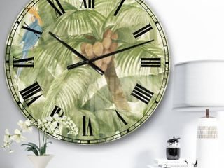 Designart Tropical Canopy Green Wall Clock