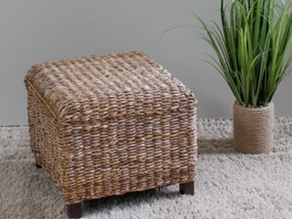 International Caravan  Arizona  Woven Abaca Square Cushioned Top Ottoman with Mahogany Hardwood Feet Retail 75 48