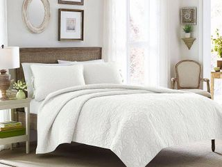 laura Ashley Felicity White Cotton Quilt Set  King