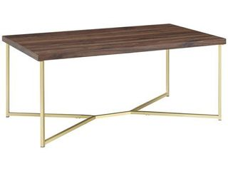 42 inch Y leg Coffee Table in Dark Walnut with Gold Metal Base