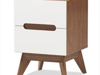 Calypso Mid   Century Modern Wood 3 Drawer Storage Nightstand   Brown