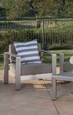 Cape Coral Outdoor Aluminum Chair with Cushion by Christopher Knight Home   Gray Cushions