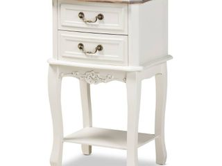 Braxton Studio Wooden Cabinet w  2 Drawers 1 Shelf   White
