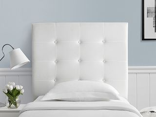 Villa Classic Tufted Plush Headboard In White   Twin